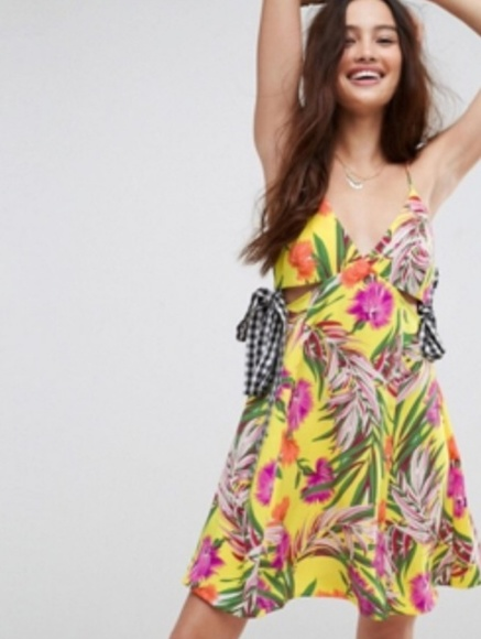 ASOS Dresses & Skirts - ASOS Cutout Sundress in Tropical Print with Gingha
